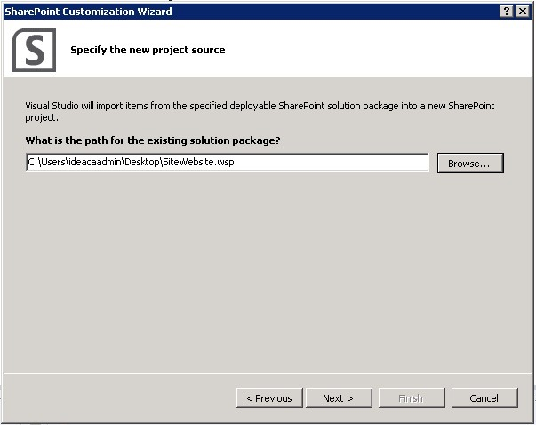 repackage a sharepoint wsp select solution