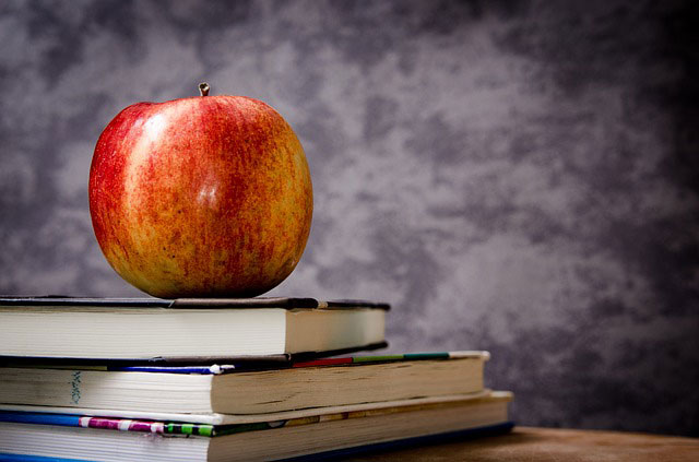 studying abroad - books and apple