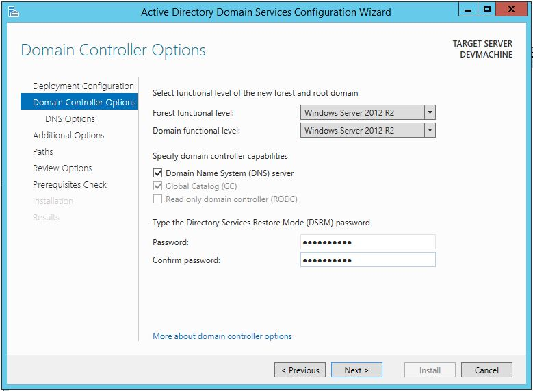 Promote Server 2012 R2 To Domain Controller (Options)