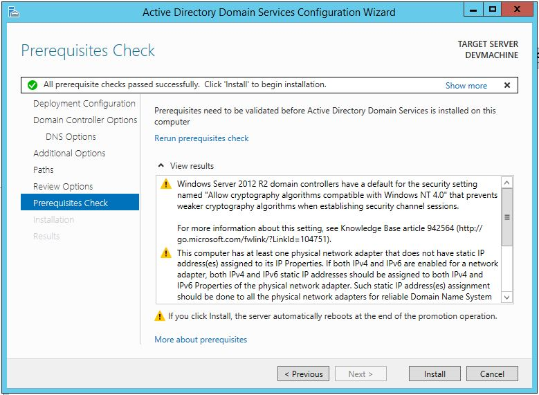 Promote Server 2012 R2 To Domain Controller (Prerequisites Check)