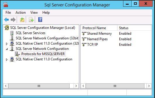 SQL Server 2014 SP1 Network Configuration (Protocols)