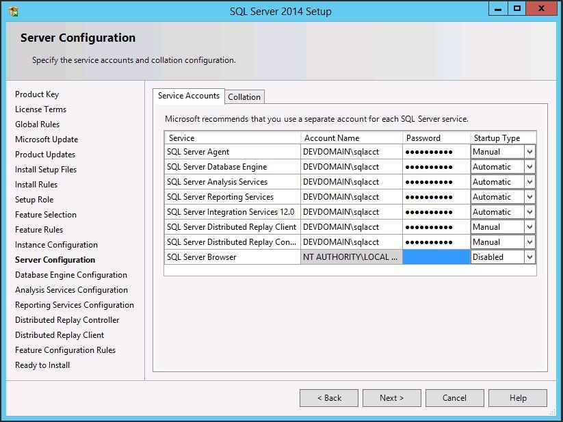 SQL Server 2014 SP1 Service Accounts