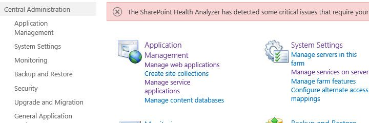 Getting the SharePoint central admin url