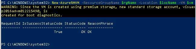 Azure VM Creation PowerShell