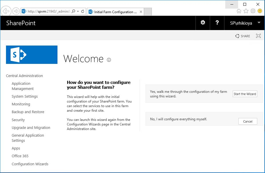 Central Admin Initial Farm Configuration SharePoint 2016