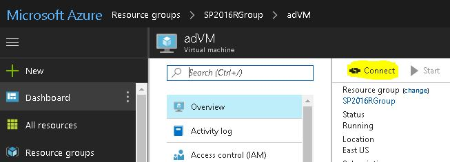 Connect to Domain Controller VM Azure