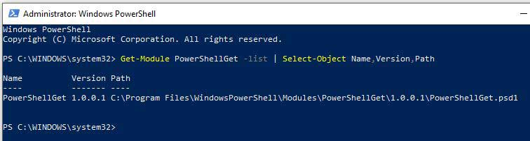 PowerShellGet Version