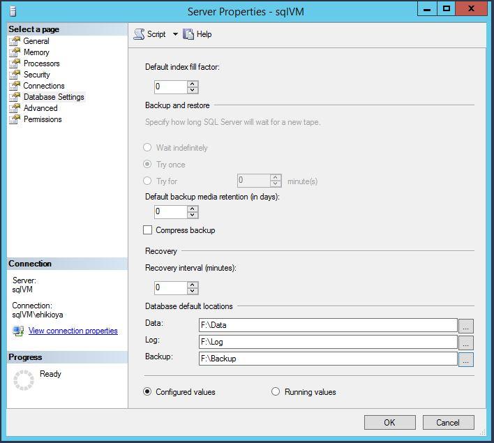 SQL Server Instance Config Database Settings