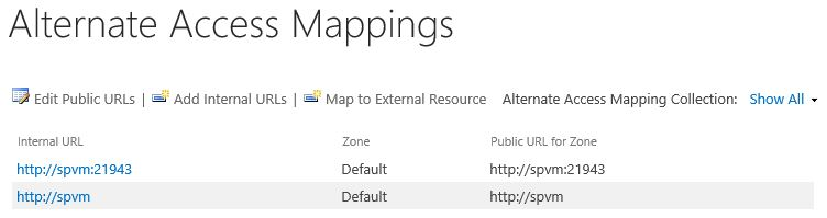 SharePoint 2016 Alternate Access Mappings