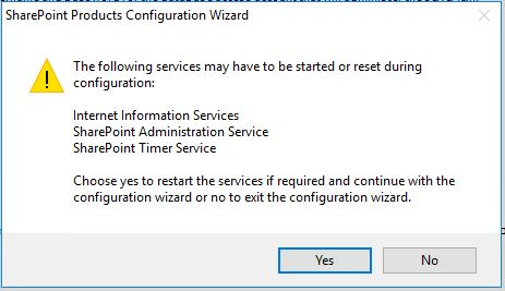 SharePoint 2016 Products Configuration Wizard Dialog