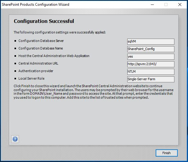 SharePoint Initial Configuration Successful