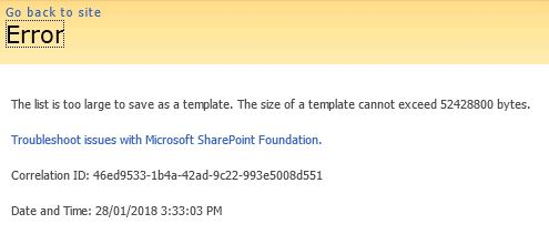 SharePoint list template maximum size error