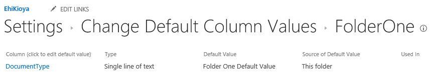 Column Default Value Settings SharePoint 2016