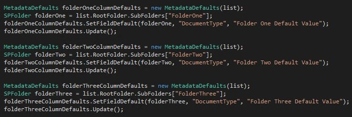 Setting default column values on items added to a SharePoint folder using code