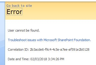 Error Message For Deleted User in SharePoint