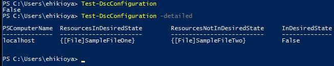 Test-DscConfiguration Command Output