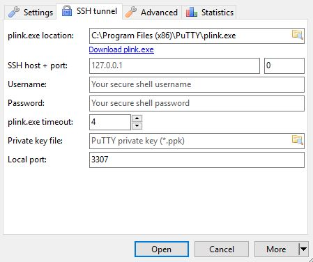PLink.exe Location Setting (HeidiSQL SSH Tunneling)