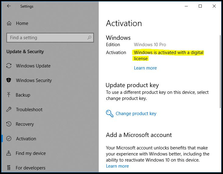Windows 10 Upgrade Digital License