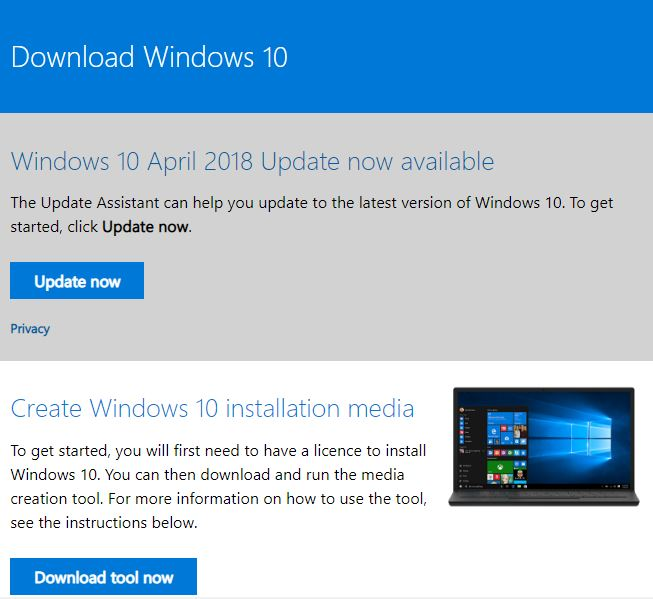 Windows 10 Upgrade Installation Media Tool