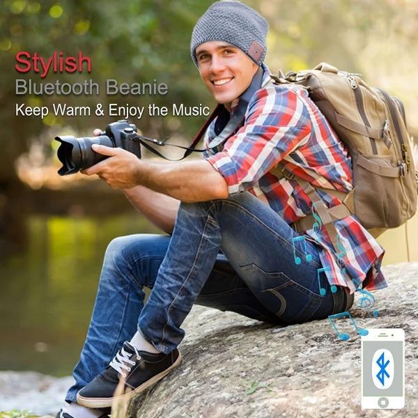 a man wearing a Bluetooth Beanie hat