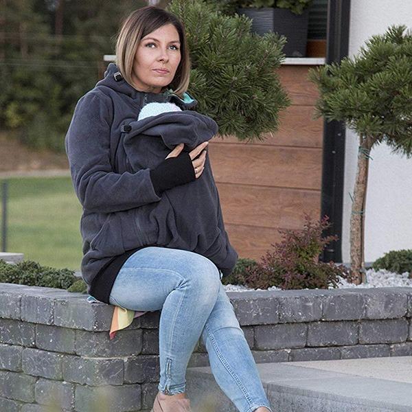 FUN2BEMUM Babywearing Maternity Jacket Sitting On Front Steps