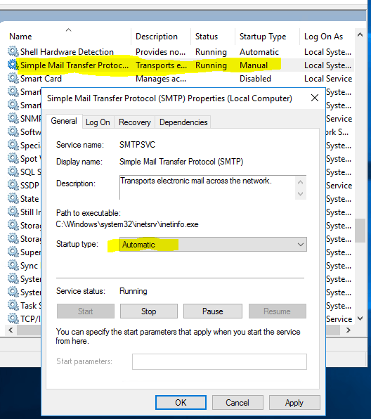 Sending Emails From SharePoint - Auto-Start SMTP Service