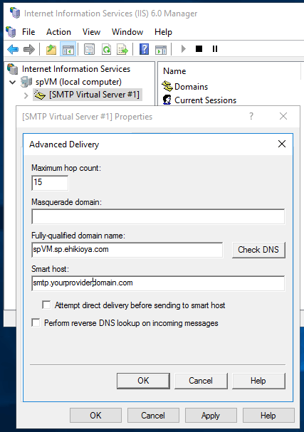 Sending Emails From SharePoint - SMTP Service Host Configuration
