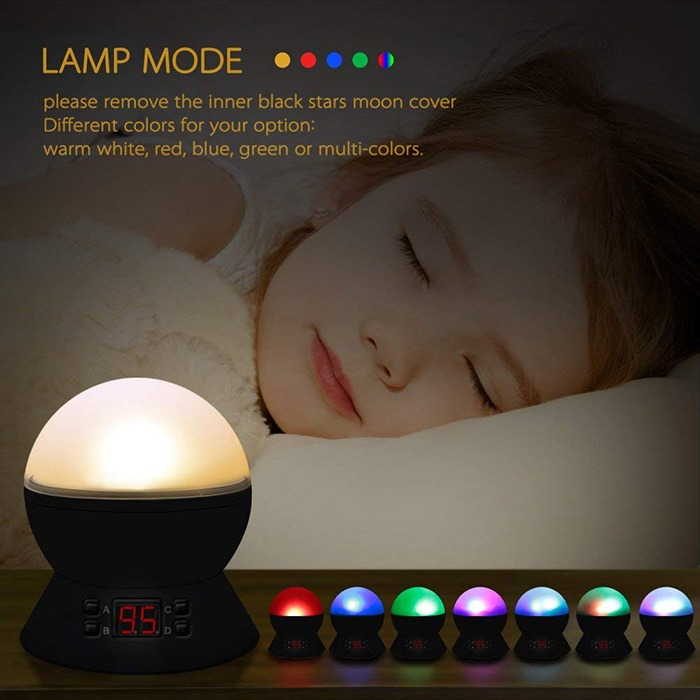 Cosmos Star Projector Lamp With Sleeping Child