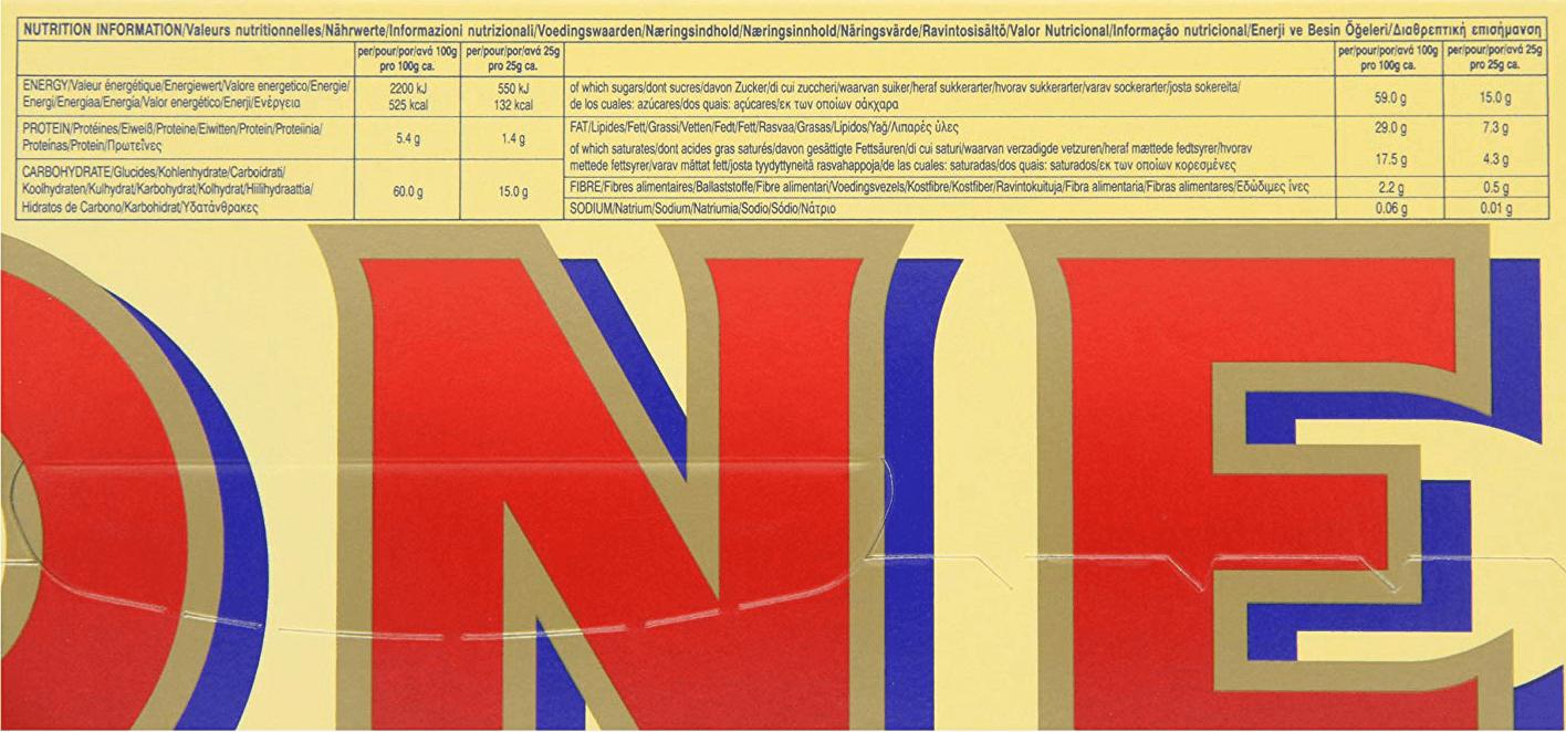 Giant Toblerone Bar Nutrition Information
