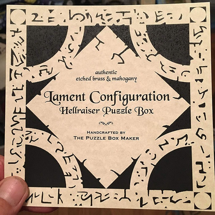 Hellraiser Puzzle Box Certificate (Lament Configuration)