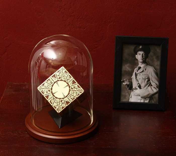 Hellraiser Puzzle Box In Glass Dome With Picture Of Elliot