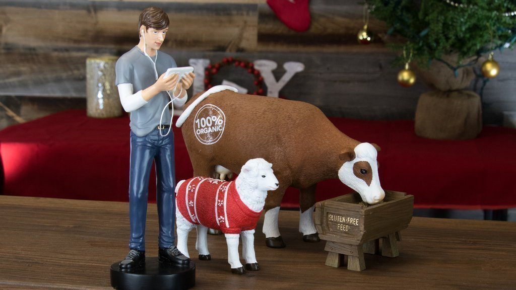 Hipster Nativity Set Shepard Sheep and Cow Full