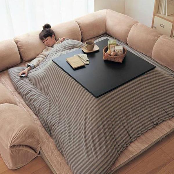 Kotatsu Japanese Heated Table With Sleeping Girl