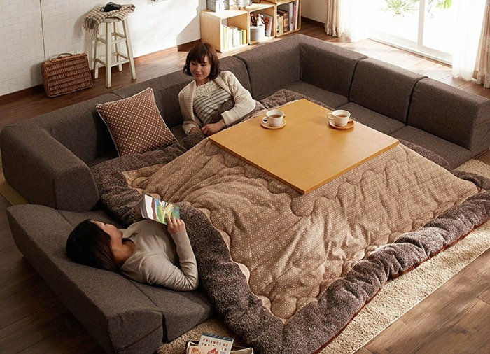 Kotatsu Japanese Heated Table With Two People 2