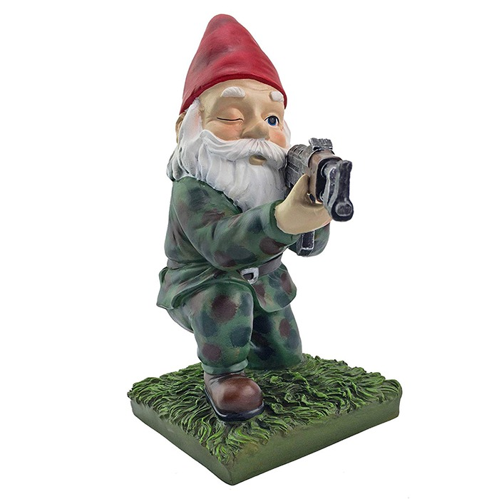 Military Garden & Lawn Gnomes Kneeling