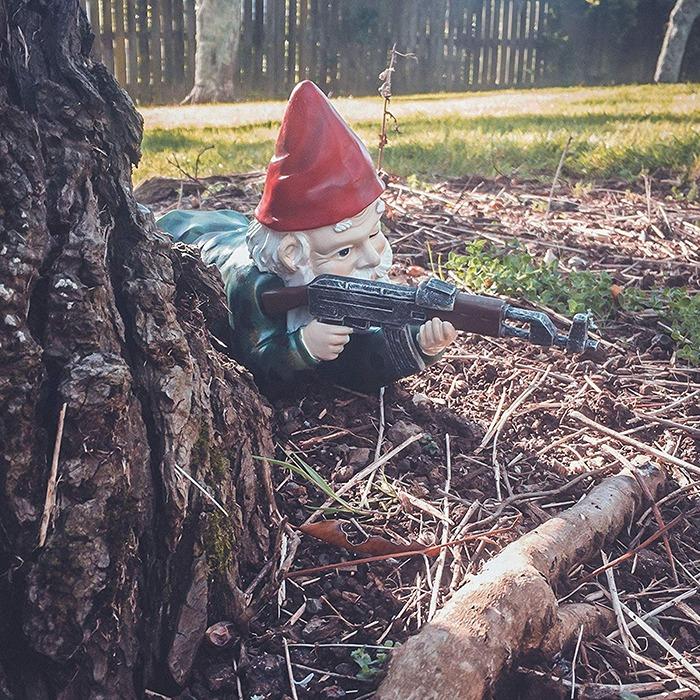 Military Garden & Lawn Gnomes Prone 2