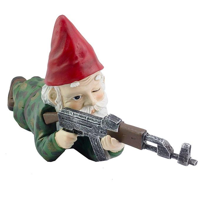 Military Garden & Lawn Gnomes Prone