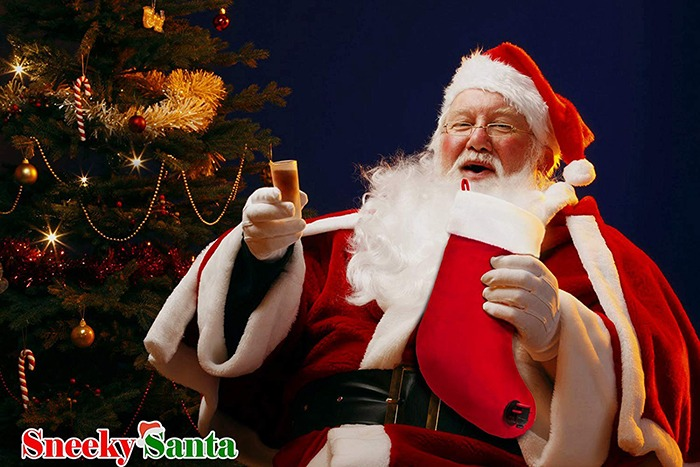 Sneeky Santa's Wine Stocking Flask [Drinking Santa Full]