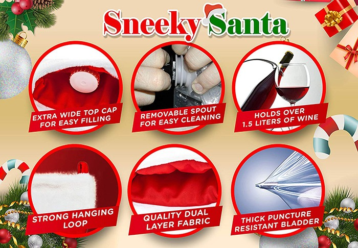 Sneeky Santa's Wine Stocking Flask Features