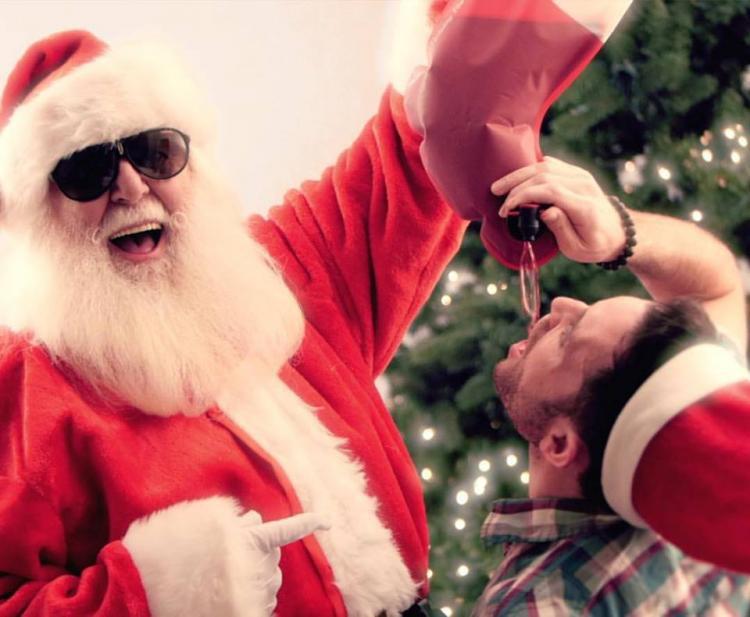 Sneeky Santa's Wine Stocking Flask In Use Full