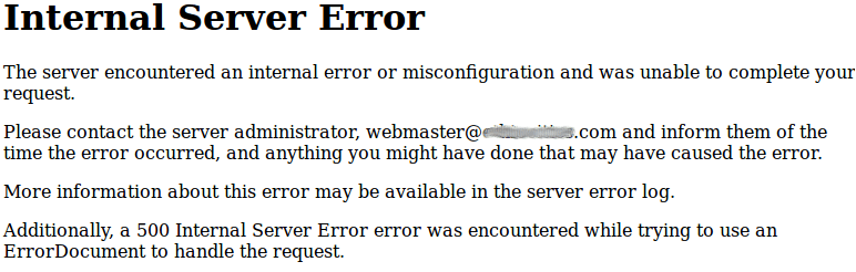 500 Internal Server Error - Apache Message