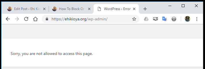 Disable WordPress User (Message Sorry, you are not allowed to access this page)