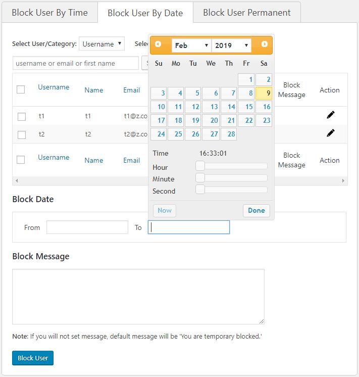 Disable WordPress User [User Blocker Plugin (By Date)]