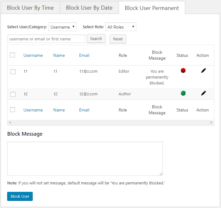 Disable WordPress User [User Blocker Plugin (Permanent)]