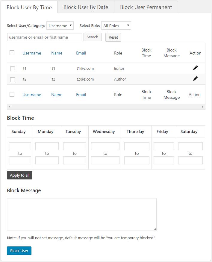Disable WordPress User [User Blocker Plugin (Time)]