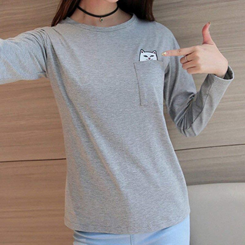 Middle Finger Pocket Cat Shirt 3
