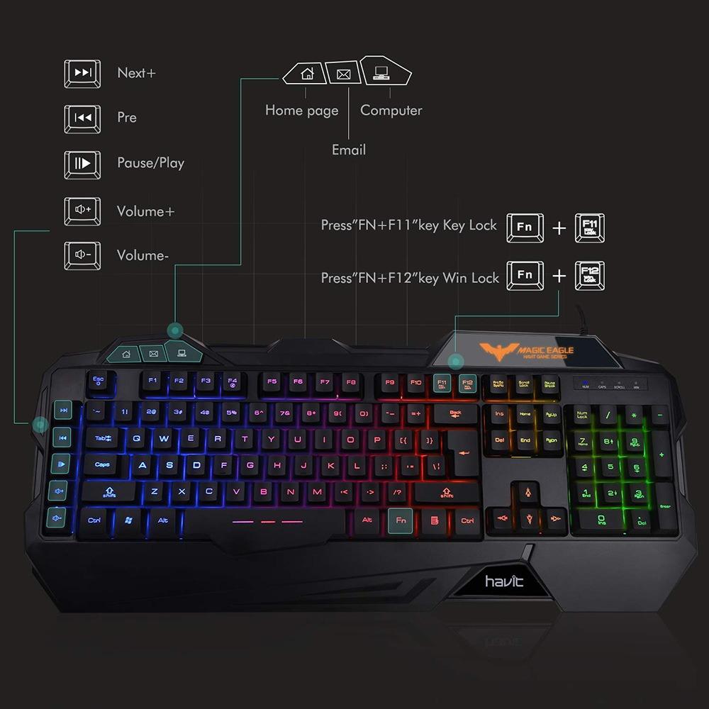 Rainbow Backlit Gaming Keyboard 6