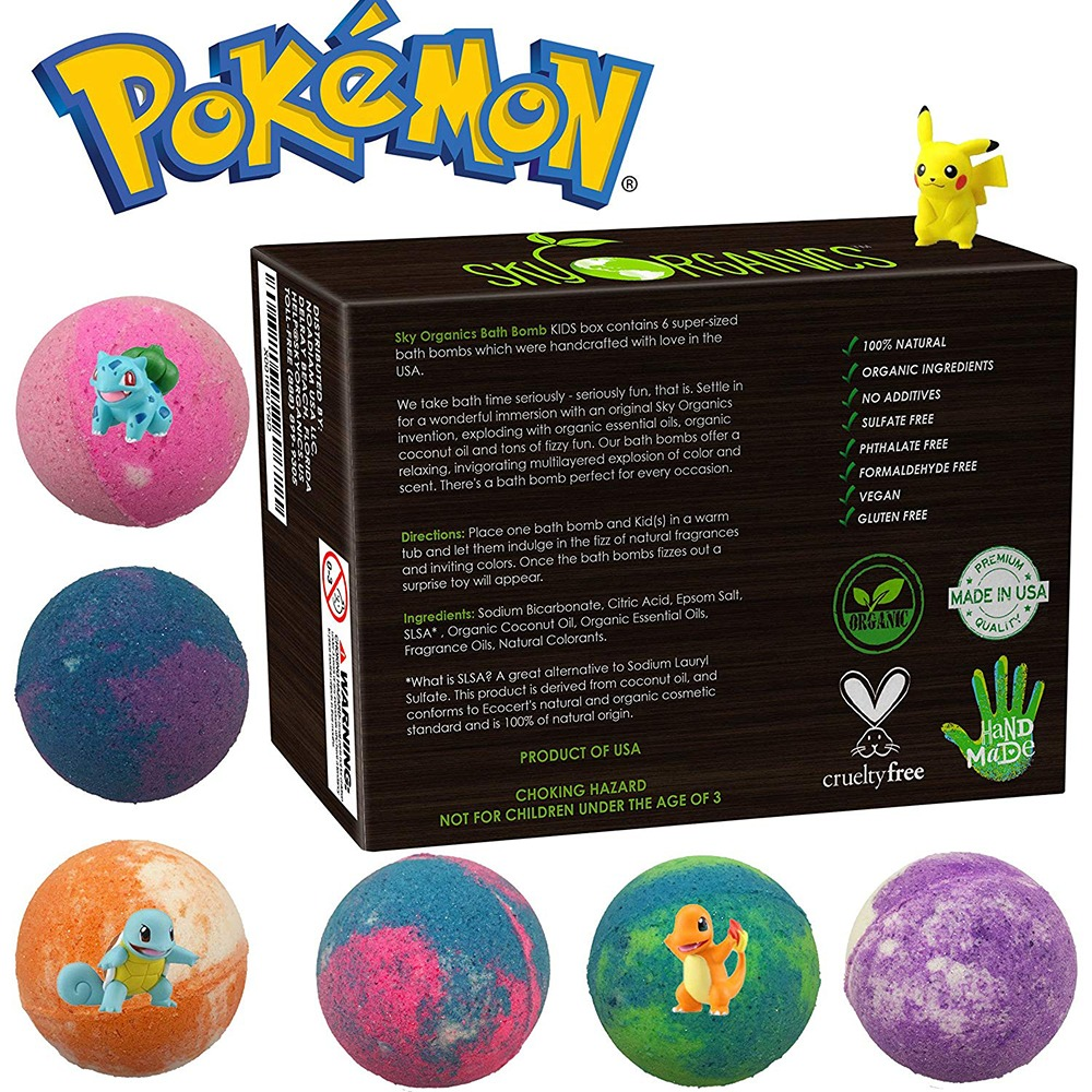 Pokemon Bath Bombs Back of Box