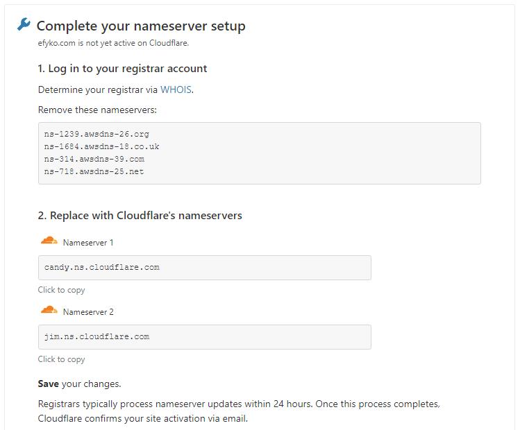 Cloudflare - Change Nameservers