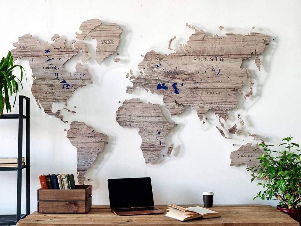 3D Wooden World Map 4